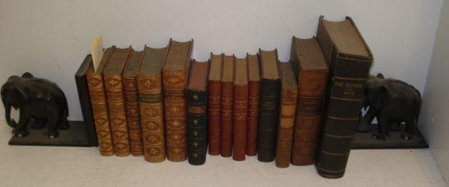 M Guizot: Historie De la Republique, 2 volumes, 1876, full calf, nine further prize bindings and three others and a pair of Indian ebony carved elephant bookends. (16)
