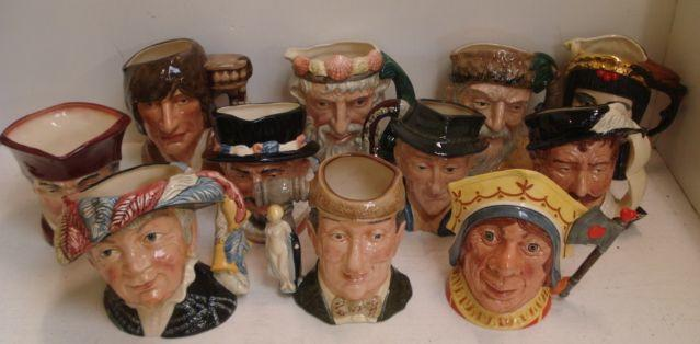Collection of Royal Doulton Character Jugs to include: The Red Queen D6777, Pearly Queen D6759, Sir Francis Drake D6805, Beefeater D6206, Romeo D6670, Long John Silver D6386 x2, Antony and Cleopatra D6728, The Antique Dealer D6807 x2, Dick Turpin D6535, The Auctioneer D6838, The Cardinal, Lobster Man D6617, Robinson Crusoe D6532, Neptune D6548, Tony Weller, Sam Weller and Mr Pickwick.