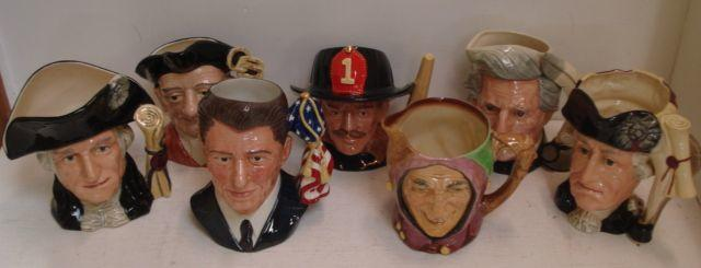 Collection of Royal Doulton Character Jugs to include: Ronald Reagan D6718, Teuchstone, George Washington D6669, Gaoler D6570, The Fireman D6697, Mark Twain D6654, George III and George Washington D6749 number 5827, Trapper D6609, The Lawyer D6498, Pied Piper D6403 and Monty D6202. (11)