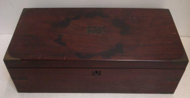 An early 19th Century mahogany campaign style brass bound writing box, with fitted interior and sunk side carrying handles, 50.5cm, and a small Victorian mahogany writing box. (2)