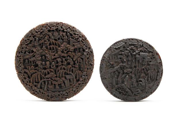 Two Cantonese tortoiseshell circular boxes Mid 19th Century