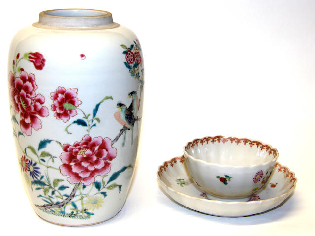 A Chinese famille rose vase, together with a teabowl and saucer, and a smaller Chinese vase