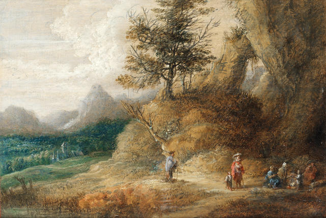 Lucas van Uden (Antwerp circa 1595-circa 1673) A mountainous landscape with travellers seated around a camp fire