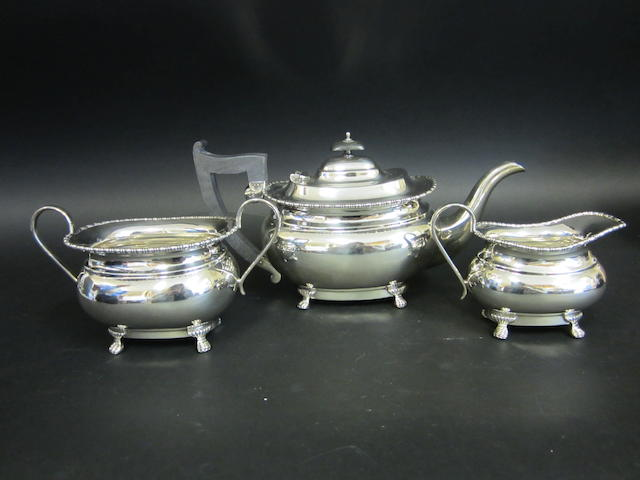 A silver three piece tea service by E Viner, Sheffield 1960