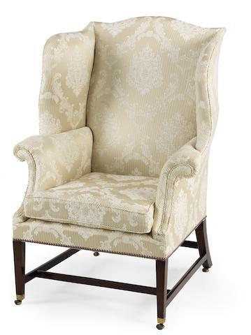 A George III mahogany wing armchair