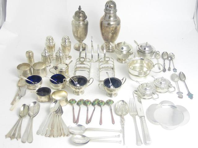 A collection of table silver various makers and dates  (Qty)