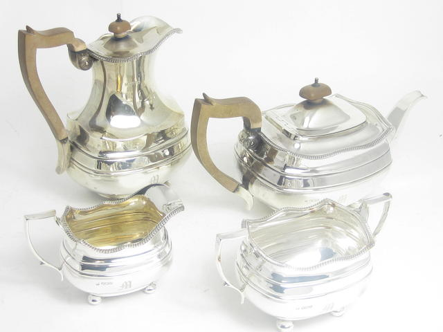 A four piece silver tea service by W & C Sissons, Sheffield 1922