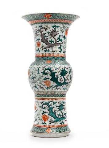 A Chinese famille verte Gu vase 19th Century