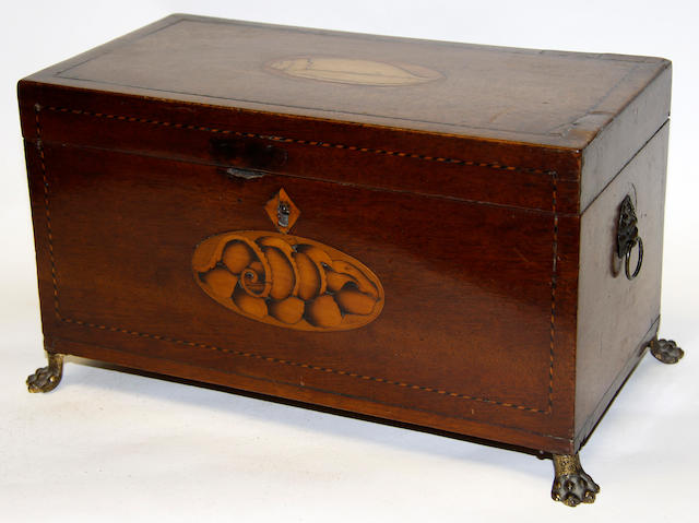 A Victorian inlaid walnut work box, 30cm widean inlaid tea caddy; two further tea caddies and a box, (5)