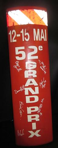 A red hand signed bollard - Monaco 1994 Grand Prix