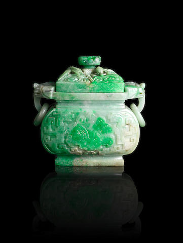 Chinese jadeite censor and cover (finial loose) with wooden stand - Provenance Mullens Collection 1930's