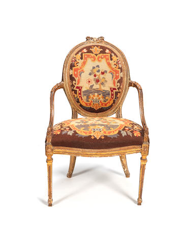 A George III giltwood armchair  possibly by Gillows