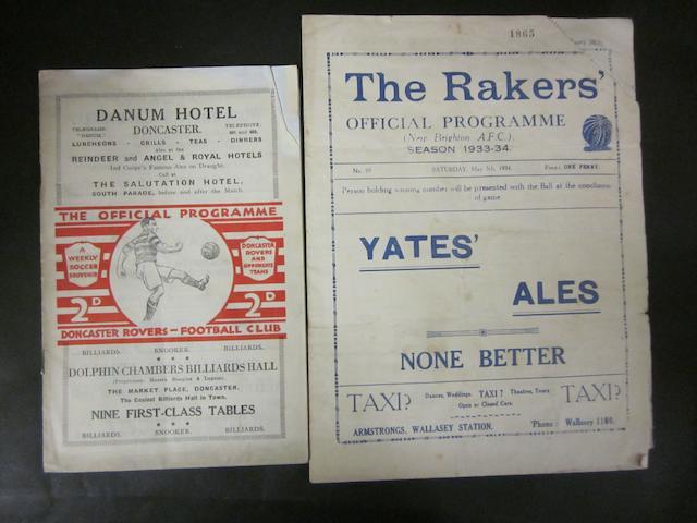 1933/34 Barnsley football programmes