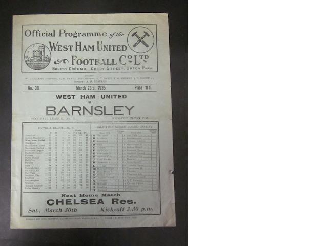 1934/35 Newcastle v Barnsley programme