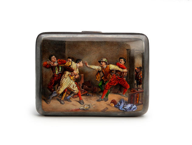An Edwardian silver & enamel cigarette case by Payton, Pepper & Son Ltd., Chester 1901
