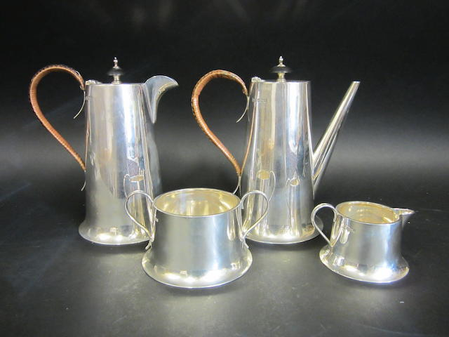 A silver four piece coffee service by Walker & Hall, Sheffield 1926