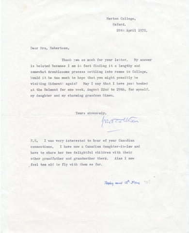 TOLKIEN (J.R.R.) Typed letter signed, 1972