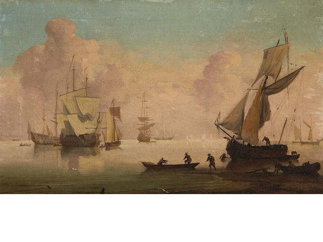 Follower of Peter Monamy (London 1681-1749) Becalmed shipping and tenders