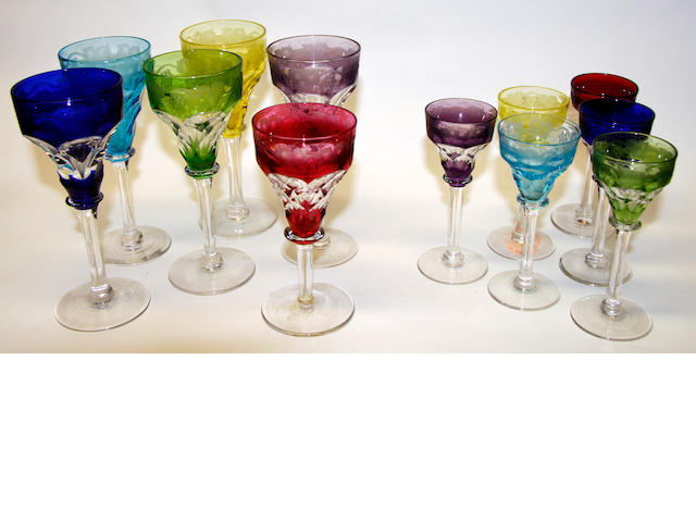A gorup of Walsh Walsh 'Harlequin' cocktail and cordial glasses,  Early 20th century