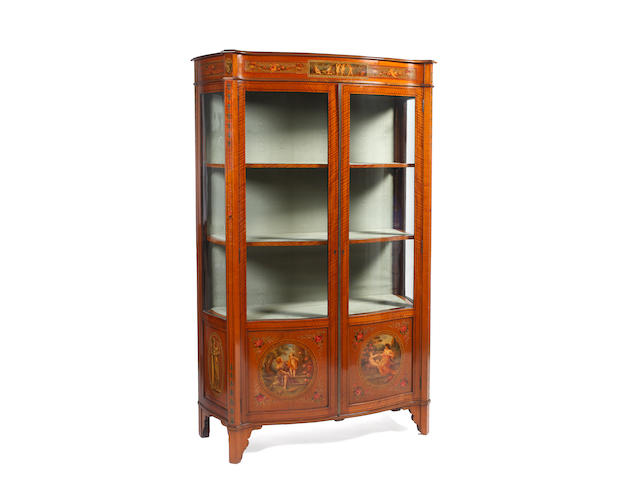 A decorative Edwardian satinwood and painted display cabinet,