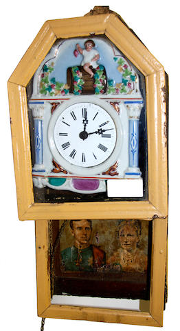 A 19th century porcelain dial wall clock