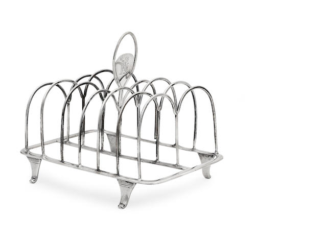 A George III silver toast rack by Michael Plummer, London 1793