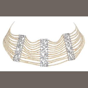A pearl and diamond choker (illustrated inside the back cover)
