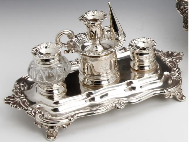 A William IV silver inkstand by T.& N. Creswick, Sheffield 1836