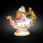 A Meissen grotesque teapot and cover circa 1726