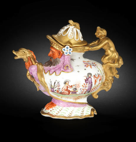 A Meissen Hausmaler grotesque teapot and cover, circa 1726-30