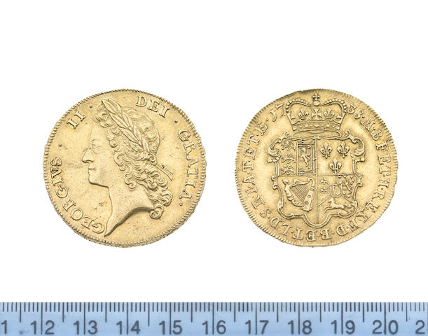 George II (1727-60), Five Guineas, 1738, young laureate head left,