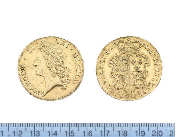 George II, Five Guineas, 1738, young laureate head left,