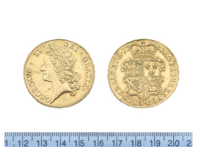 George II (1727-60), Five Guineas, 1738, young laureate head left,