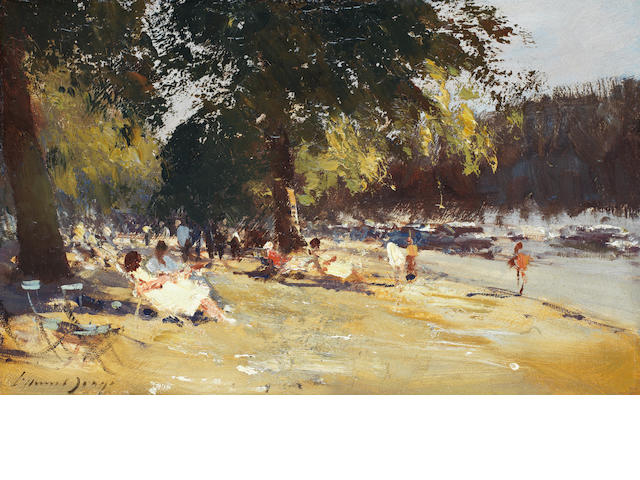 Edward Seago R.W.S. (British, 1910-1974) Bank Holiday, Hyde Park 25.4 x 40.6 cm. (10 x 16 in.)