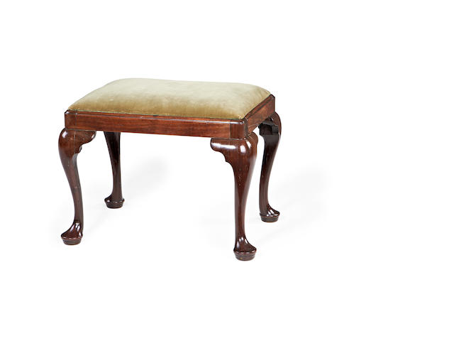 A George II mahogany stool made or retailed by A.E.Mason