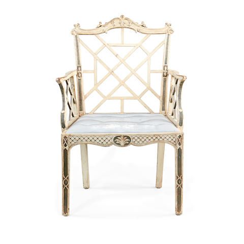 A George III white and grey painted armchair after a design by Robert Manwaring