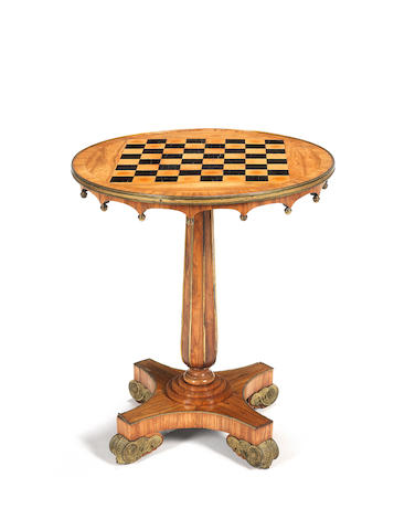 A Regency kingwood and gilt-brass mounted chess table