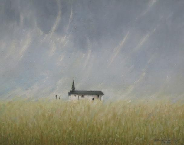 Frank Bradley Chapel in a Cornfield, West Germany 51cm x 61cm.