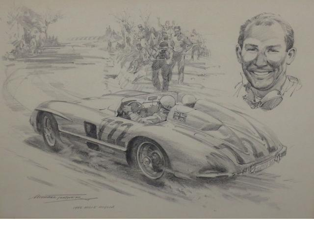 Michael Turner, Sterling Moss in the 1955 Mille Miglia, signed, pensil, 26cm x 31cm.