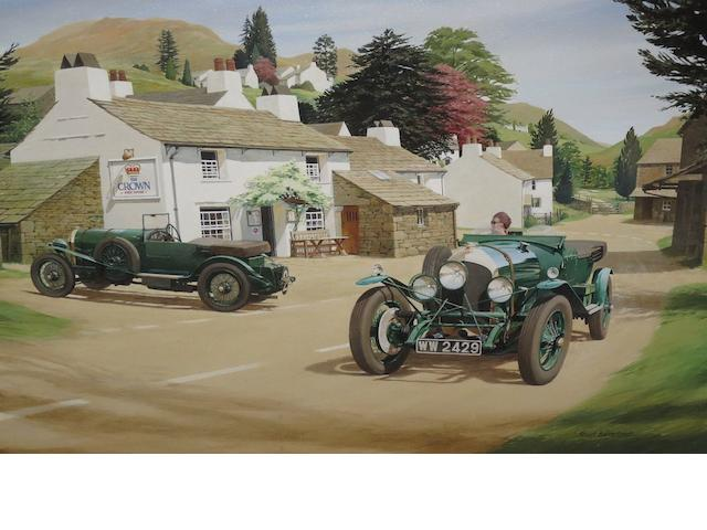 Stuart Barraclough, Bentleys, a pair, signed, acrylics, 62cm x 90cm. (2)