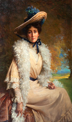 George Percy R. E. Jacomb-Hood (British, 1857-1929) Mrs Walter Frith  123 x 78cm (48 7/16 x 30 11/16in)