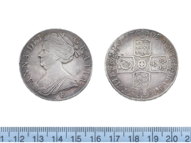 Queen Anne, Crown, 1708/7E, second draped bust left, E for Edinburgh mint below,