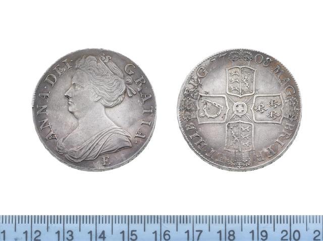 Queen Anne, Crown, 1708/7E, second draped bust left, E for Edinburgh mint below,