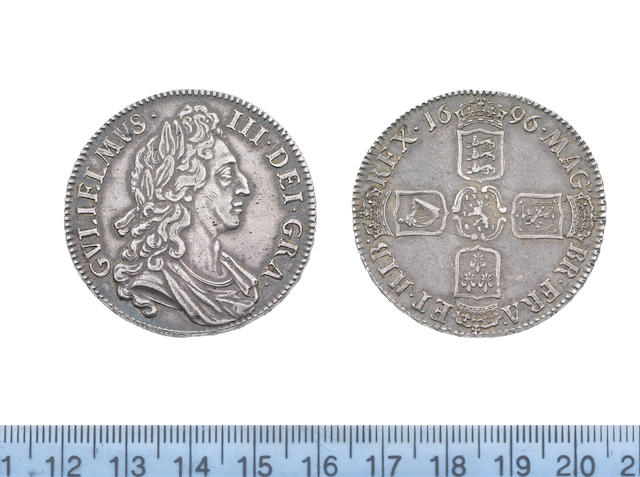 William III (1694-1702), Crown, 1696, first draped bust right with curved breast plate on drapery,