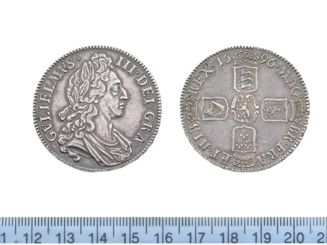 William III, Crown, 1696, first draped bust right with curved breast plate on drapery,