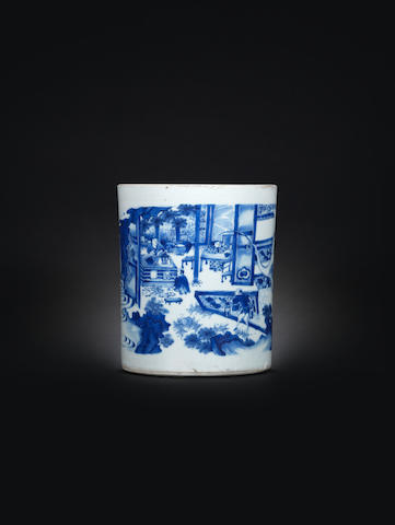 A fine blue and white brushpot, bitong Chongzhen