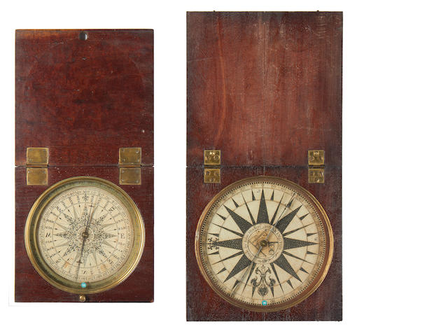 Two mahogany cased compasses one by C Stedman, the other John Hudson
