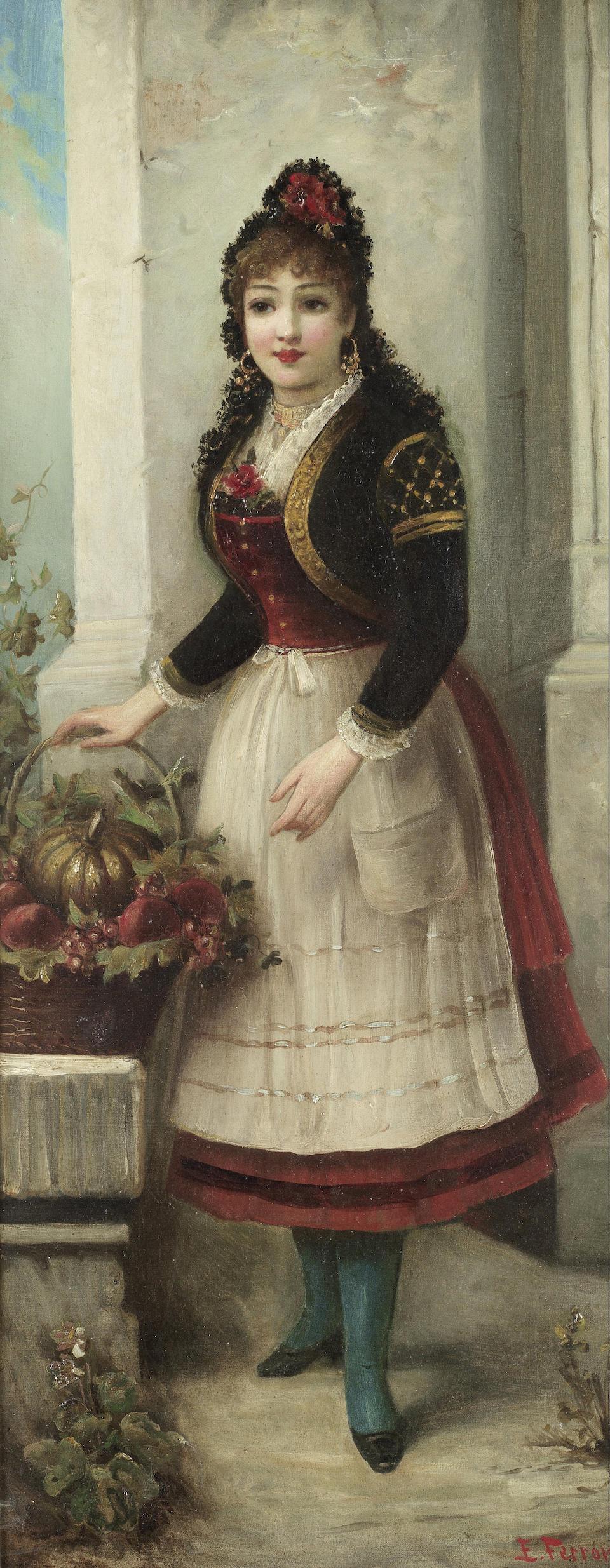 Egisto Ferroni (Italian, 1835-1912) Ladies holding flowers, a pair (2)
