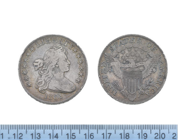 U.S.A., Silver Dollar, 1801, bust of Liberty right, date below and LIBERTY above,