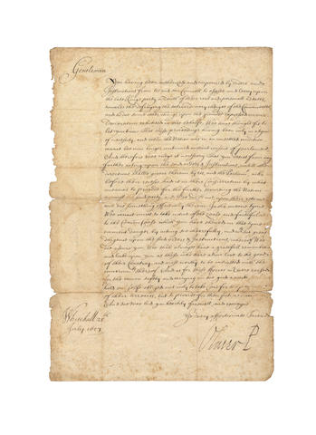 "CROMWELL (OLIVER) Letter signed, as Lord Protector (""Oliver P""), to the Commissioners for Securing the Peace of the Commonwealth for the County of Somerset, ordering them to discontinue the Decimation Tax, 1657"
